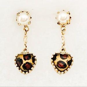 Betsy Johnson Leopard Heart & Pearl Earrings